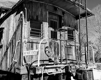 Old Train Car in Black and White