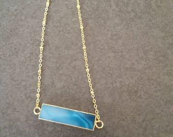Sea blue agate long bar pendant necklace | natural agate necklace | blue natural stone necklace | gemstone bar necklace