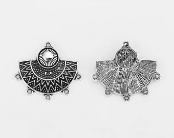 Set of 2 pendants earrings ethnic connectors / 5 Silver Rings antique 31x35mm