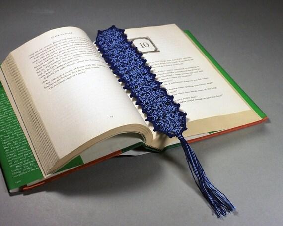 Blue Bookmark, Crochet, 10 Inches, Book Lovers Gift, Rectangle, Handmade, Dark Blue, Light Blue, Tassel