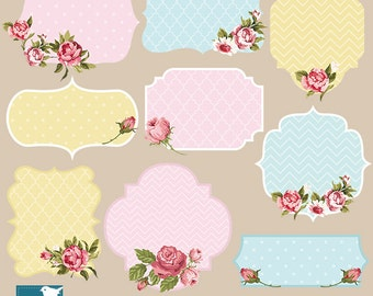 Shabby Chic Labels, Shabby Chic Digital Frames, Digital Clipart, Digital Scrapbooking Frames, Shabby Labels, png & eps - INSTANT DOWNLOAD