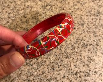 Vintage 1960's Lucite Bangle Bracelet