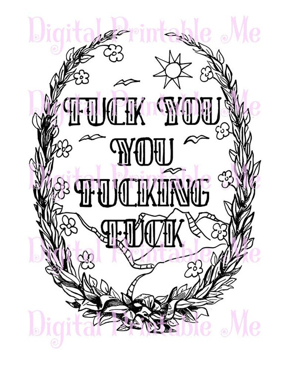 Curse Word Coloring Book Page Printable Sweary Download