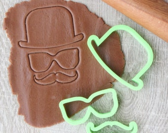 "Cookie cutter set ""Hat, glasses, mustache"" 3 pcs"