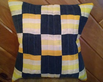Upcycled Denim & Yellow Quilted Pillow Cover