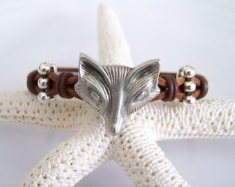 Brown Leather Fox Bracelet - Item R6559