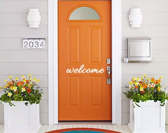 Vinyl Wall Decal Art - Welcome Vinyl front door sign. Goodbye Bonjour Aloha Salut Welcome Bye See-ya