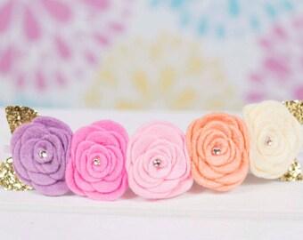 Pastel Five Flower Crown - Felt Flower Crown - Newborn Photo Shoot Prop - Photo Prop