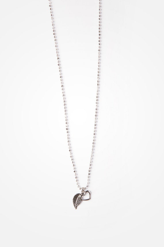 "Necklace silver-plated 0,5mm ball chain with delicate leaf pendant - 18"" - handmade in Montreal Si Simple - ANYA"