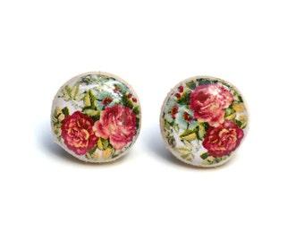 Pink floral stud earrings  wood earrings flower studs tiny stud earrings  post earrings  Wood jewelry.  Starlight woods. Eco friendly