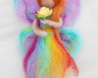 Rainbow Fairy Ballerina Mobile   Needle felted figure
