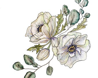 Watercolor Anemone, Original Watercolor Artwork, Watercolor Print, Floral Print, Botanical Print, Watercolor Flowers, Botanical Watercolor