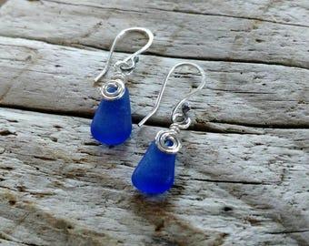 Genuine Cobalt Blue Sea Glass and Sterling Earrings