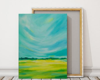 Landscape Painting  Original Abstract Art Abstract Panoramic Field Painting, Paintings on Canvas Yellow Turquoise Wall Art 18x24