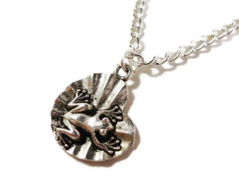 Frog Charm Necklace, Frog on a Lily Pad Pendant Necklace, Silver Metal Necklace, Teen and Women's Jewelry, Mother's Day Gift Idea