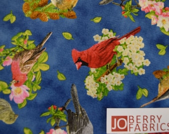 Songbirds from the Songs of Nature Collection by Robert May w/Suzanne Cruise for Quilting Treasures.  Quilt or Craft Fabric.