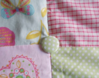 Patchwork quilt for girl made by hand.