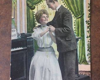 Vintage Postcard Edwardian Love Courtship, Used 1909, Piano Parlor, TH. E.L. Theochrom Series 1090, Friends Misunderstanding, Forgiveness