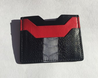 Luxury Cardholder   Genuine Ostrich leather wallet (money keeper)   leather card keeper