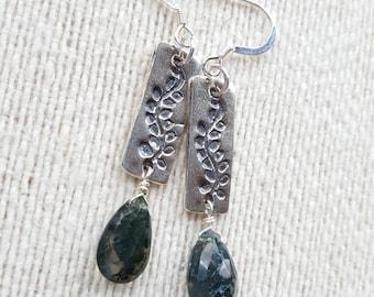 Moss Agate Earrings, Moss Agate, Sterling Silver Earrings, Vine, Leaf, Sterling Silver, Earrings, Gift for Her, Boho, Chic, Dangle Earrings