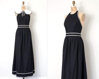 vintage 1960s dress / black 60s halter maxi dress / black and white