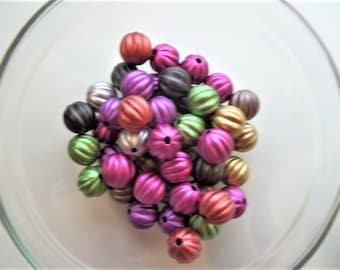 10mm 50CT Multi Colored Pumpkin Beads, Gumball Chunky, B51