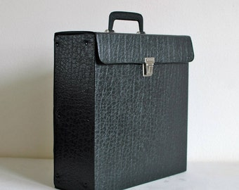 Vintage black vinyl record case, music lp organizer, Dutch Vintage, vintage storage, top handle, 1970, 12 inch carry on case croc print case