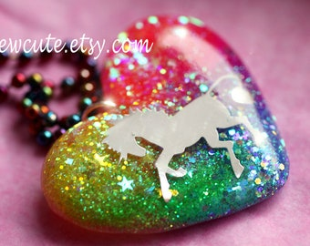 Jewelry, Unicorn, Resin Rainbow Fantasy Unicorn Necklace, Rainbow Heart Sparkly Horse Glitter Pendant Rainbow Bright Colorful Chain isewcute