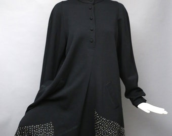 80s Koos Van Den Akker Black Wool Applique Tent Dress M