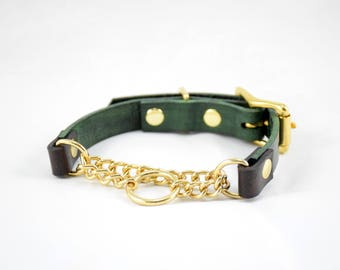 The Narya Collar: Forest Green & Chocolate Brown Adjustable Leather Martingale Dog Collar