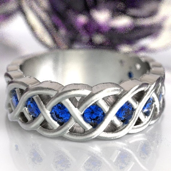 Celtic Wedding Ring with Blue Sapphire Stones in 4 Cord Braided Knot Design in Sterling Silver, Made in Your Size CR-1008