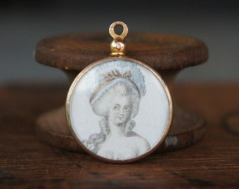 Antique French Gold Plated Picture Pendant with 18th Century Marie Antoinette Ladies