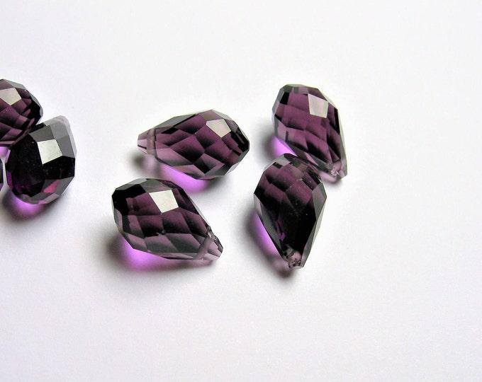 Faceted teardrop crystal briolette beads - 25 pcs - 13mm x 8mm - top sideways drill - Amethyst dark purple - CRTD9