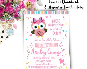 Owl baby shower invitation etsy owl baby shower invitation owl invitation owl baby shower invitation invite filmwisefo Image collections