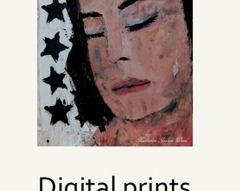 Sleeping Woman Portrait Painting Print. Night Stars Print. Black & White Art Print. Made to Order.