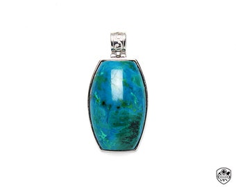Chrysocolla Pendant, AAA Gem Quality, High Polishing, 316L Stainless steel, Made In Taiwan(05061112)