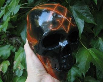 Airbrushed Skull, Handpainted Skull, Handmade Skull, Fire, Metal, Dark, Satanic, Flame, Day of the Dead, Airbrush, Black Sugar Skull