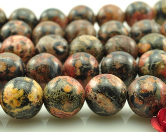 48 pcs of  Leopard Skin Jasper smooth round beads in 8mm