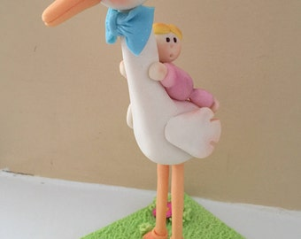 Hand Crafted Cold Porcelain  Baby Shower Cake Topper or party decoration