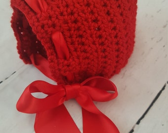 crochet little red riding hood photo prop baby bonnet, crochet red baby bonnet, newborn baby bonnet, crochet baby valentine hat.