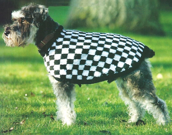 Checked Dog Coat Aran Knitting Pattern For Toy Small And Medium