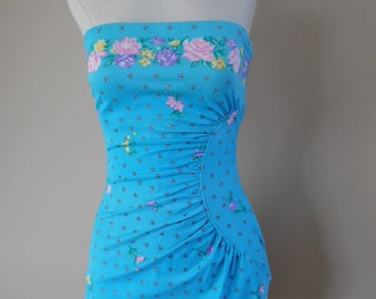 Vintage Aqua, Pink, Purple, Yellow and White  Floral Border Print Strapless Maillot Swimsuit with Integrated Bra by SandCastle