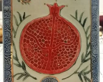 Pomegranate clay work wall decor or on a stand hand made from Israel 7 inch