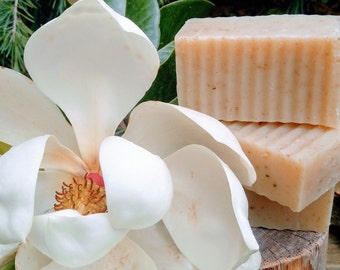 Magnolia Bar Soap | Floral Soap | Southern Magnolia Soap | Floral Soap With Food-grade | Magnolia Soap For Women | Soap With Dried Flowers