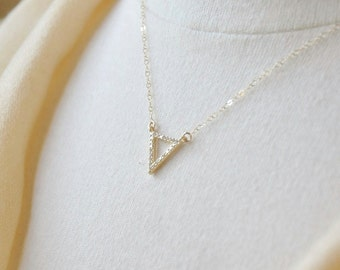 Gold Triangle Necklace/ CZ Triangle Necklace/ Triangle Outline Necklace/ Gold Necklace/ Dainty Necklace/Layering Necklace/ Minimal Necklace