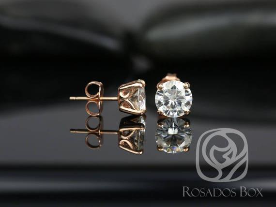 Rosados Box Donna 7mm 14kt Rose Gold Round F1- Moissanite Leaf Gallery Basket Stud Earrings