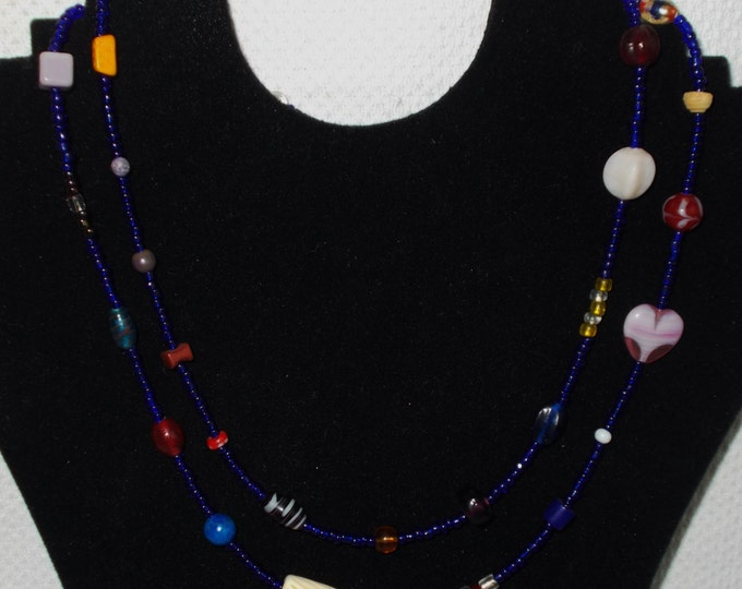 Vintage 90s One Of A Kind Hippie Chic Handmade Cobalt Blue Seed Bead Bohemian Tribal Extra Long Necklace