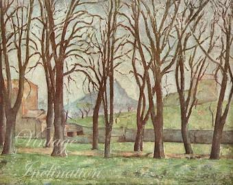 Antique Print, 1939 CHESTNUT TREES, chart beautiful wall art vintage color lithograph illustration landscape