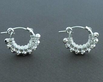 Hoop Earrings, Silver Sterling Hoop Earrings, Small Hoop Earrings, Girl's Gift,Women Earrings, Wire Wrapped, Delicate Earrings, Gift For Her