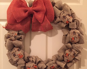 Burlap wreath, fall wreath, fall decor, owls, front door wreath, fall, wreaths, burlap, gifts
